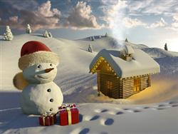 Snowman with two lottery presents -image