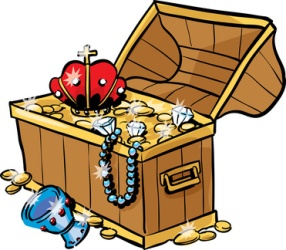 Treasure chest with lottery winning