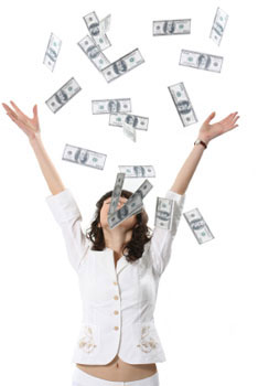 girl with money falling on her -image